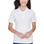 Harriton Womens Easy Blend Wrinkle Resistant Short Sleeve Polo Shirt - White