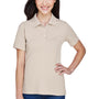 Harriton Womens Easy Blend Wrinkle Resistant Short Sleeve Polo Shirt - Stone