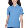 Harriton Womens Easy Blend Wrinkle Resistant Short Sleeve Polo Shirt - Light College Blue