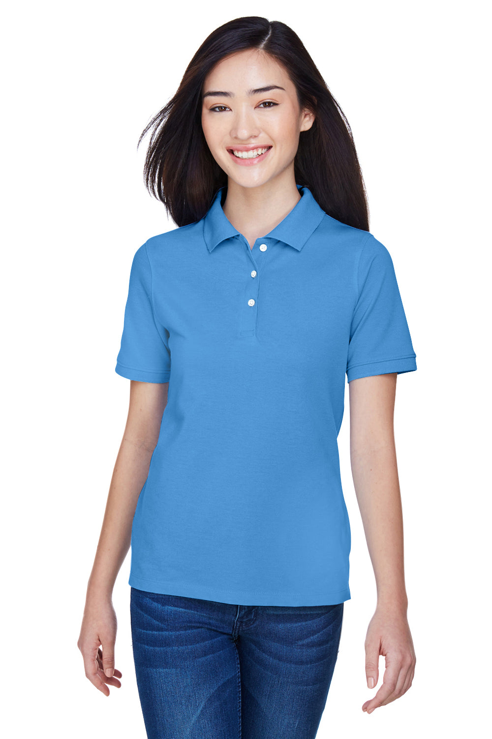 Harriton M265W Womens Easy Blend Wrinkle Resistant Short Sleeve Polo Shirt Nautical Blue Front