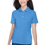 Harriton Womens Easy Blend Wrinkle Resistant Short Sleeve Polo Shirt - Nautical Blue