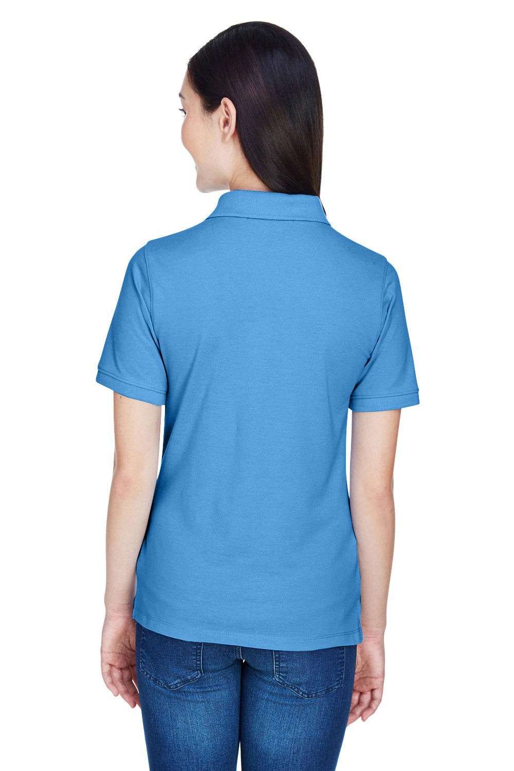 Harriton M265W Womens Easy Blend Wrinkle Resistant Short Sleeve Polo Shirt Nautical Blue Back