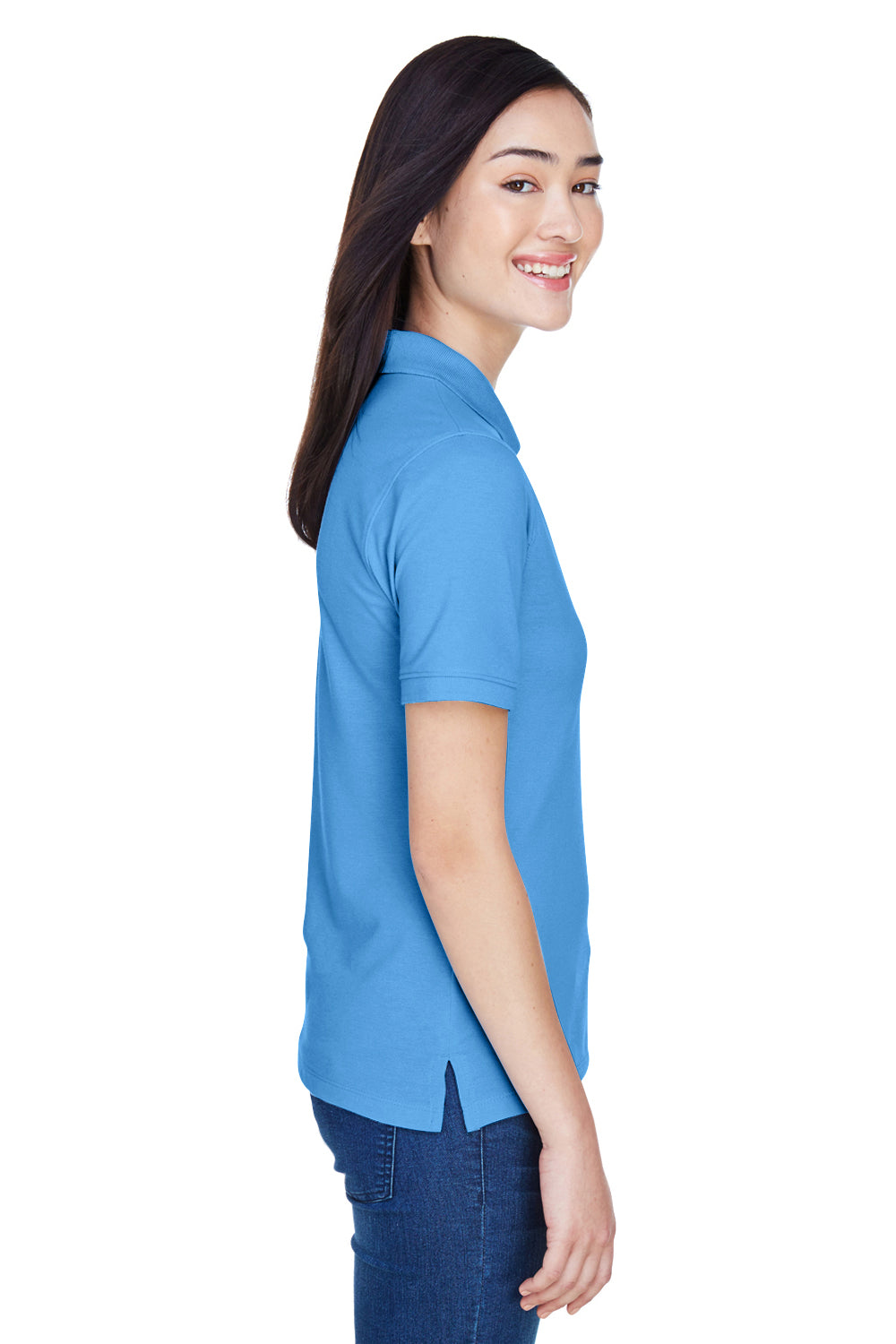 Harriton M265W Womens Easy Blend Wrinkle Resistant Short Sleeve Polo Shirt Nautical Blue Side