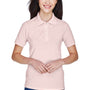 Harriton Womens Easy Blend Wrinkle Resistant Short Sleeve Polo Shirt - Blush Pink