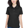 Harriton Womens Easy Blend Wrinkle Resistant Short Sleeve Polo Shirt - Black