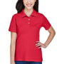 Harriton Womens Easy Blend Wrinkle Resistant Short Sleeve Polo Shirt - Red