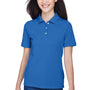 Harriton Womens Easy Blend Wrinkle Resistant Short Sleeve Polo Shirt - True Royal Blue