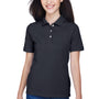 Harriton Womens Easy Blend Wrinkle Resistant Short Sleeve Polo Shirt - Navy Blue