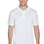 Harriton Mens Polytech Moisture Wicking Short Sleeve Polo Shirt - White