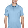 Harriton Mens Polytech Moisture Wicking Short Sleeve Polo Shirt - Light Blue