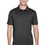 Harriton Mens Polytech Moisture Wicking Short Sleeve Polo Shirt - Black