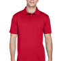 Harriton Mens Polytech Moisture Wicking Short Sleeve Polo Shirt - Red