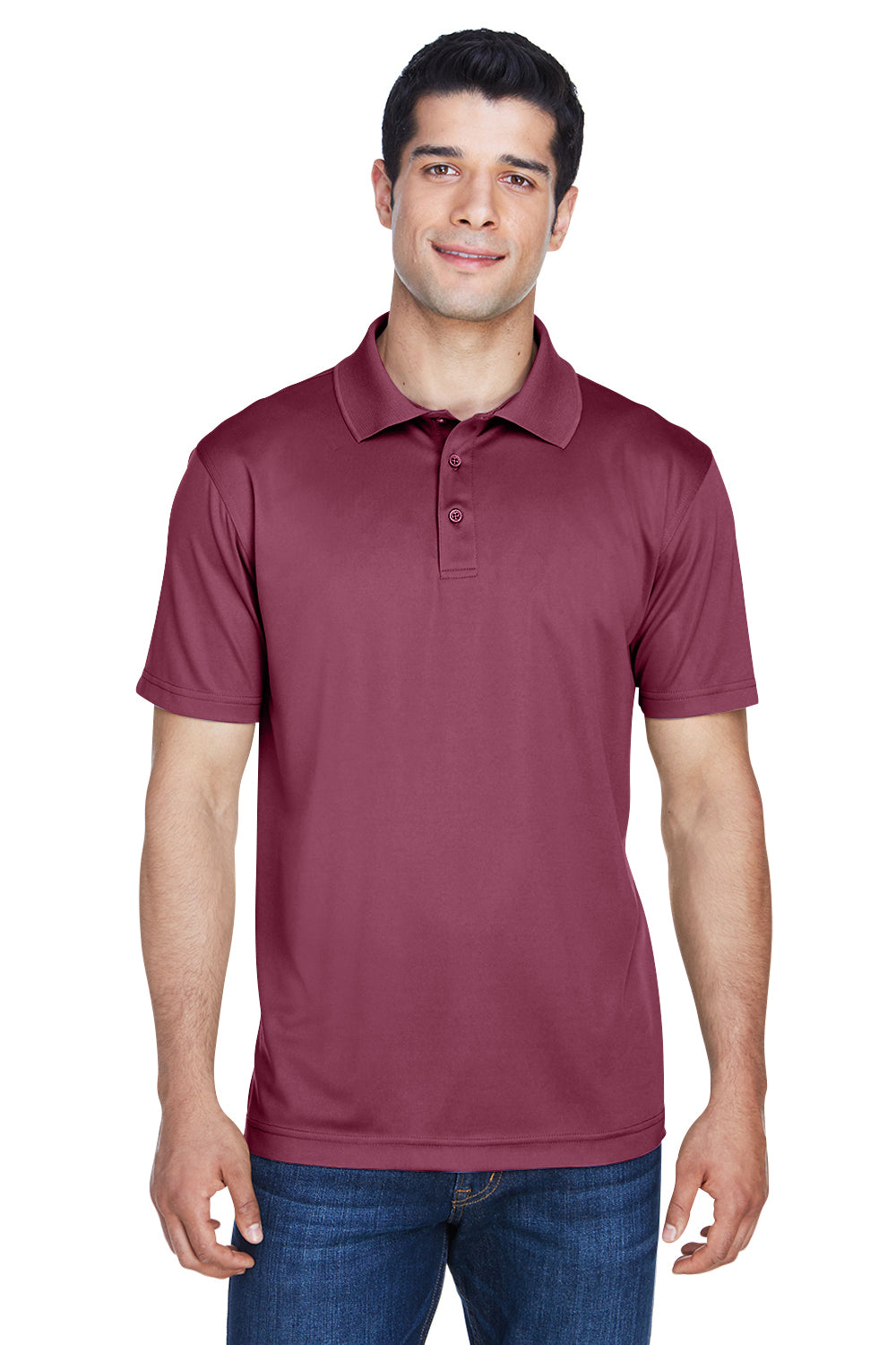 Harriton M315 Mens Polytech Moisture Wicking Short Sleeve Polo Shirt Maroon Front