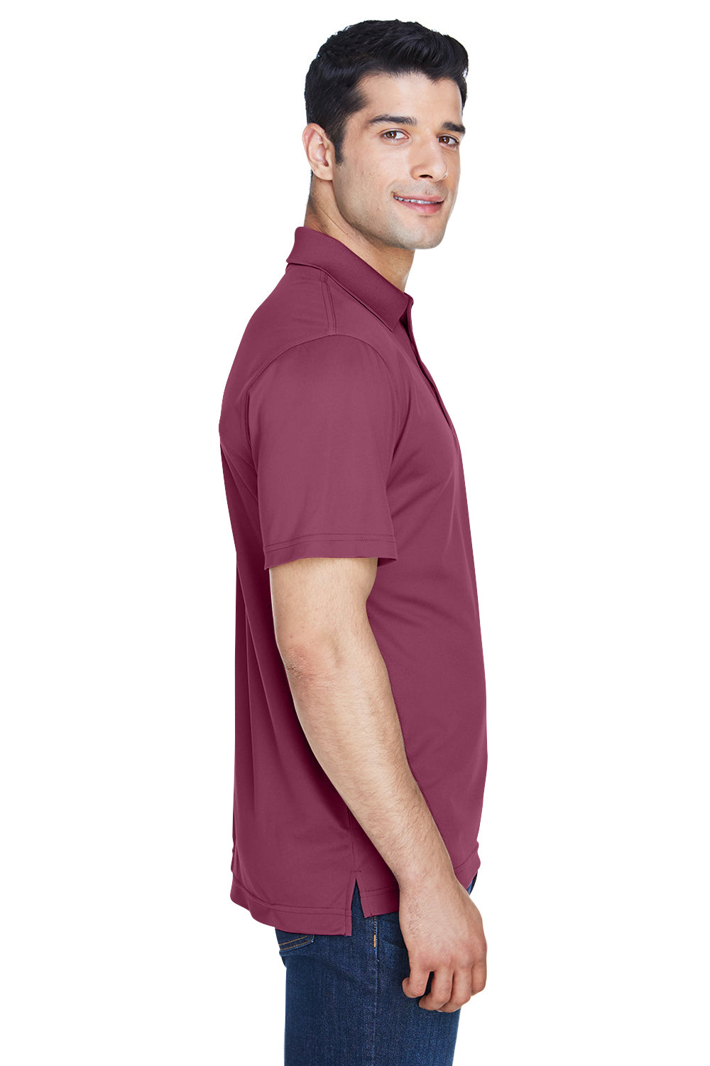 Harriton M315 Mens Polytech Moisture Wicking Short Sleeve Polo Shirt Maroon Side