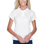 Harriton Womens Polytech Moisture Wicking Short Sleeve Polo Shirt - White