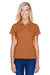 Harriton M315W Womens Polytech Moisture Wicking Short Sleeve Polo Shirt Texas Orange Front