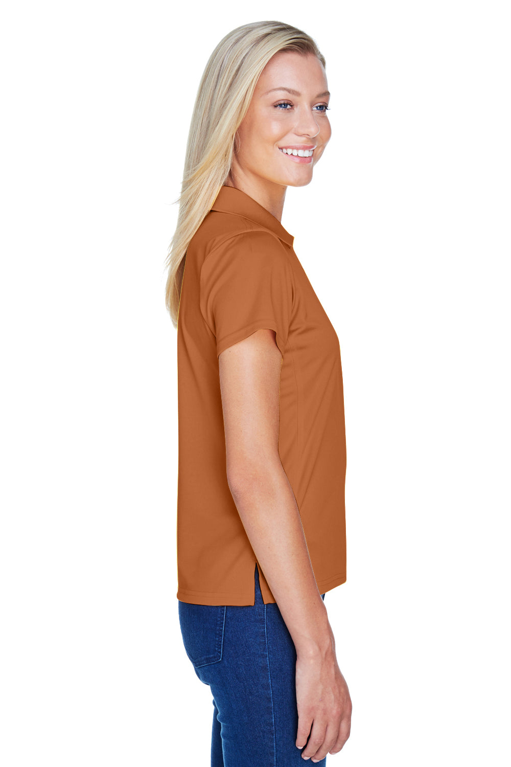 Harriton M315W Womens Polytech Moisture Wicking Short Sleeve Polo Shirt Texas Orange Side
