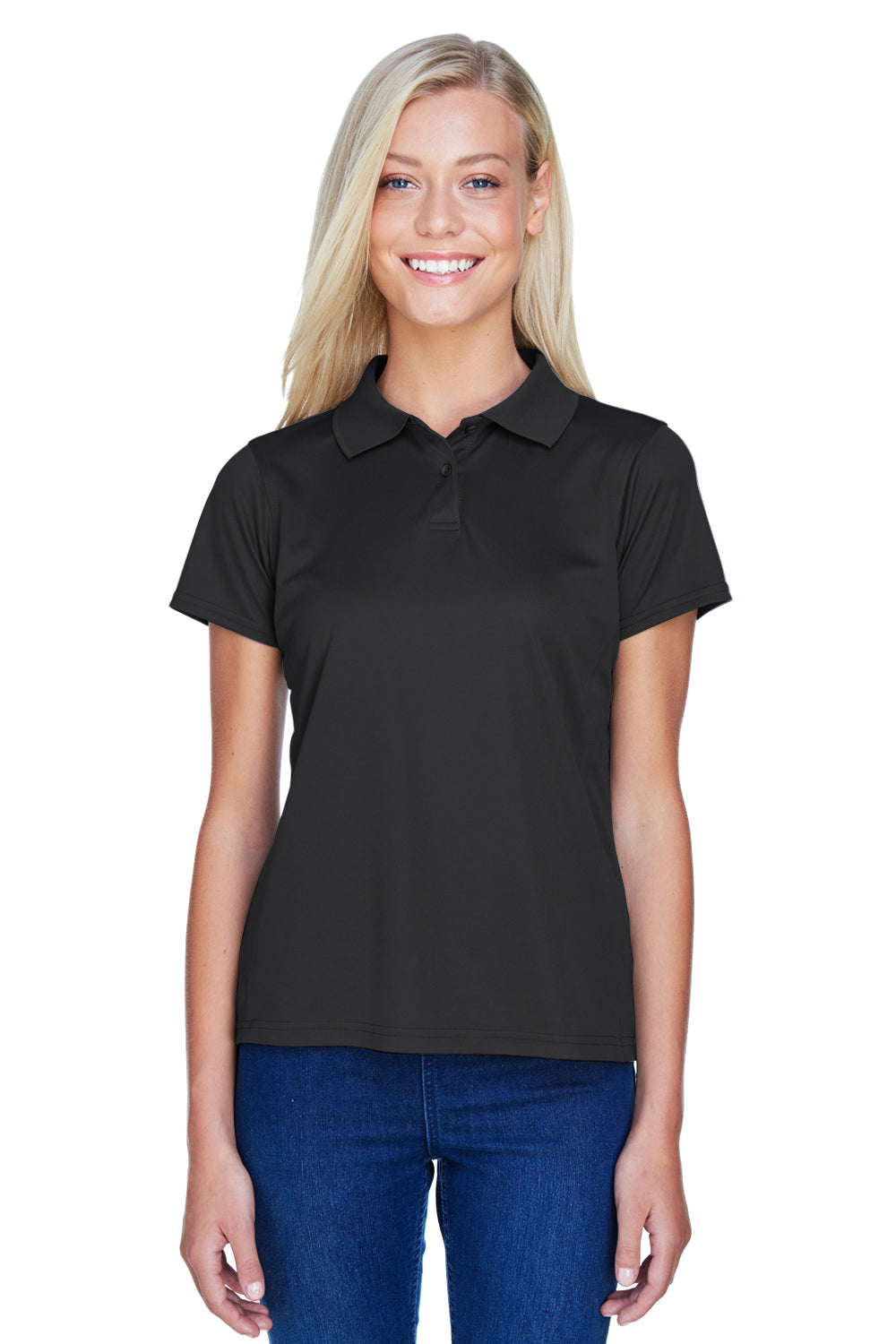 Harriton M315W Womens Polytech Moisture Wicking Short Sleeve Polo Shirt Black Front