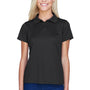 Harriton Womens Polytech Moisture Wicking Short Sleeve Polo Shirt - Black
