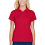 Harriton Womens Polytech Moisture Wicking Short Sleeve Polo Shirt - Red