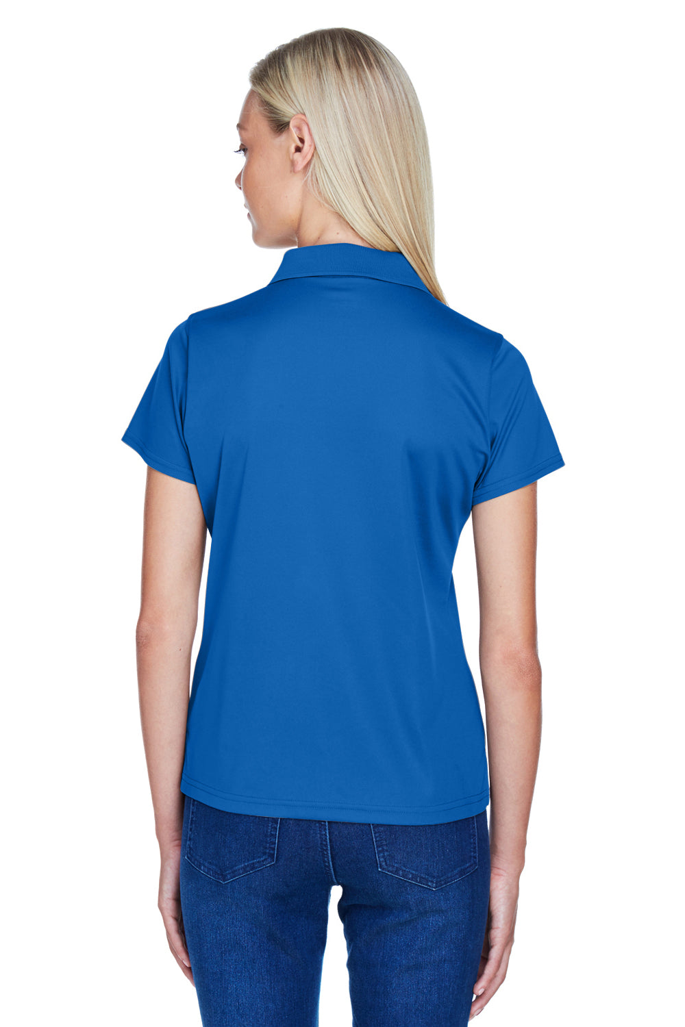 Harriton M315W Womens Polytech Moisture Wicking Short Sleeve Polo Shirt Royal Blue Back