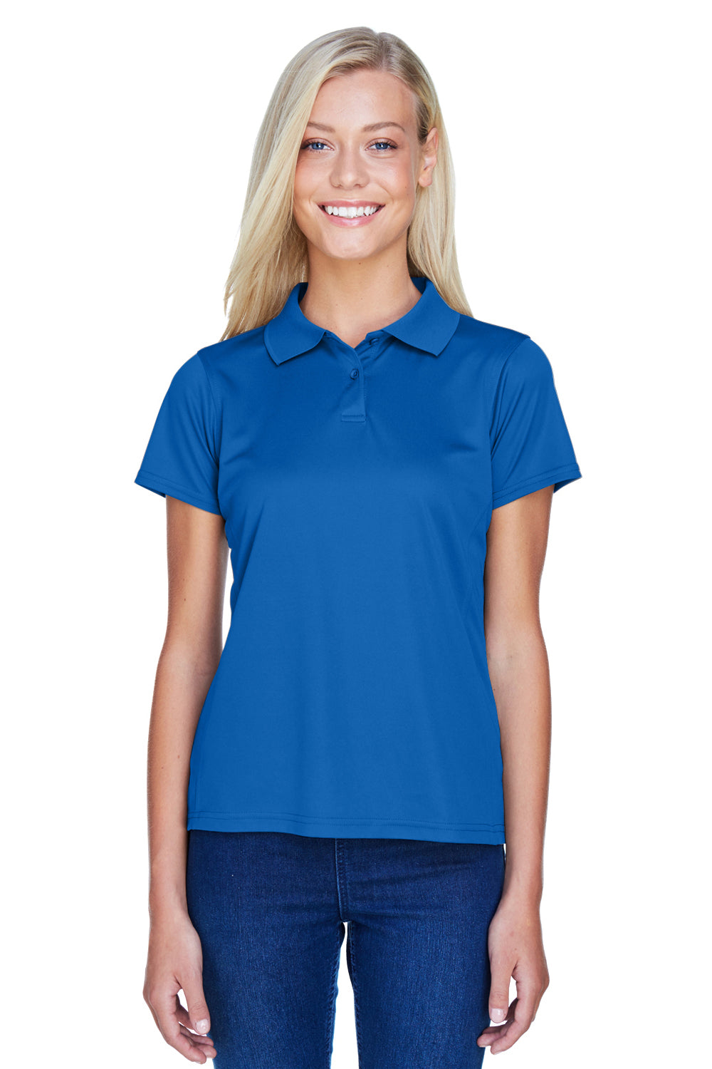 Harriton M315W Womens Polytech Moisture Wicking Short Sleeve Polo Shirt Royal Blue Front