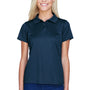 Harriton Womens Polytech Moisture Wicking Short Sleeve Polo Shirt - Navy Blue