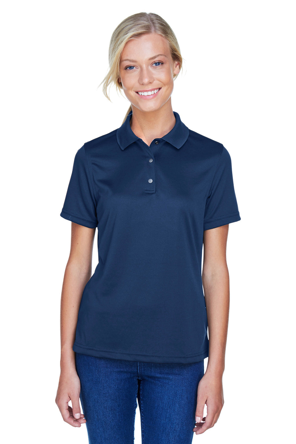 Harriton M345W Womens Advantage Moisture Wicking Short Sleeve Polo Shirt Navy Blue Front