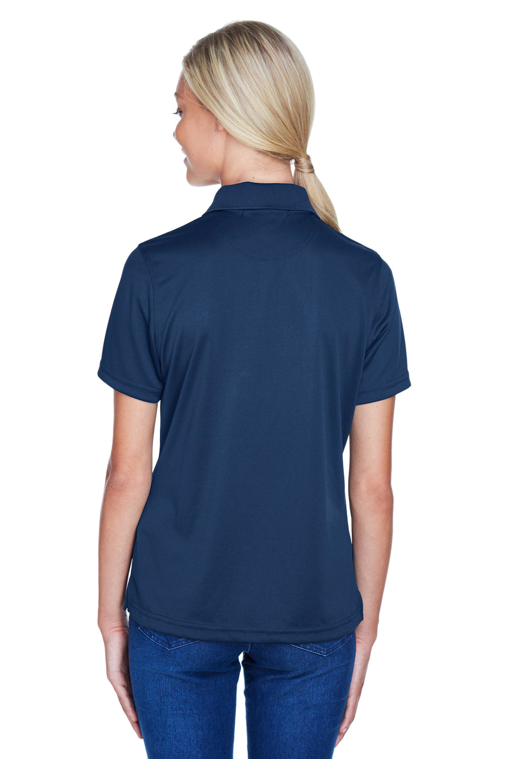 Harriton M345W Womens Advantage Moisture Wicking Short Sleeve Polo Shirt Navy Blue Back