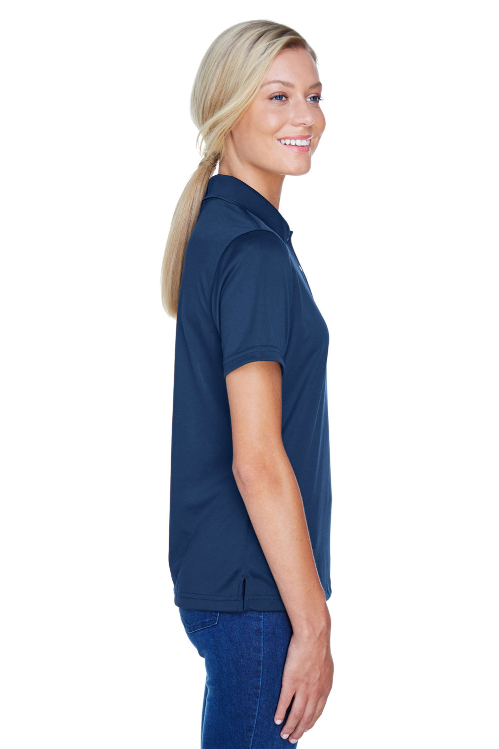 Harriton M345W Womens Advantage Moisture Wicking Short Sleeve Polo Shirt Navy Blue Side
