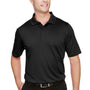 Harriton Mens Advantage Performance Moisture Wicking Short Sleeve Polo Shirt - Black