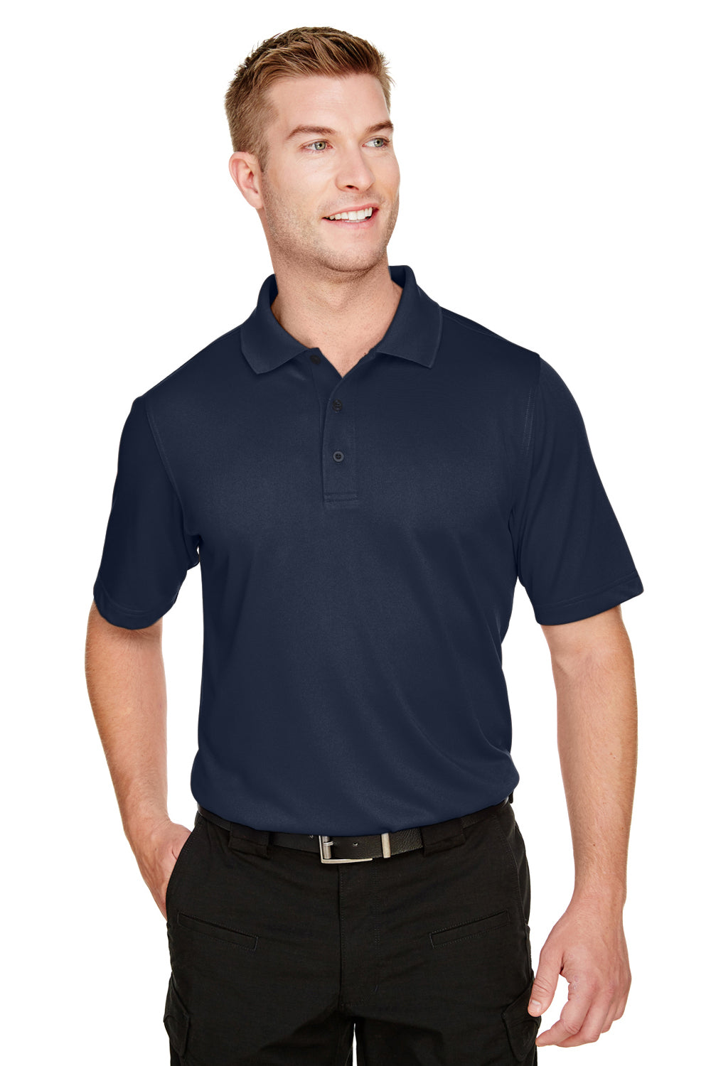 Harriton M348 Mens Advantage Performance Moisture Wicking Short Sleeve Polo Shirt Navy Blue Front