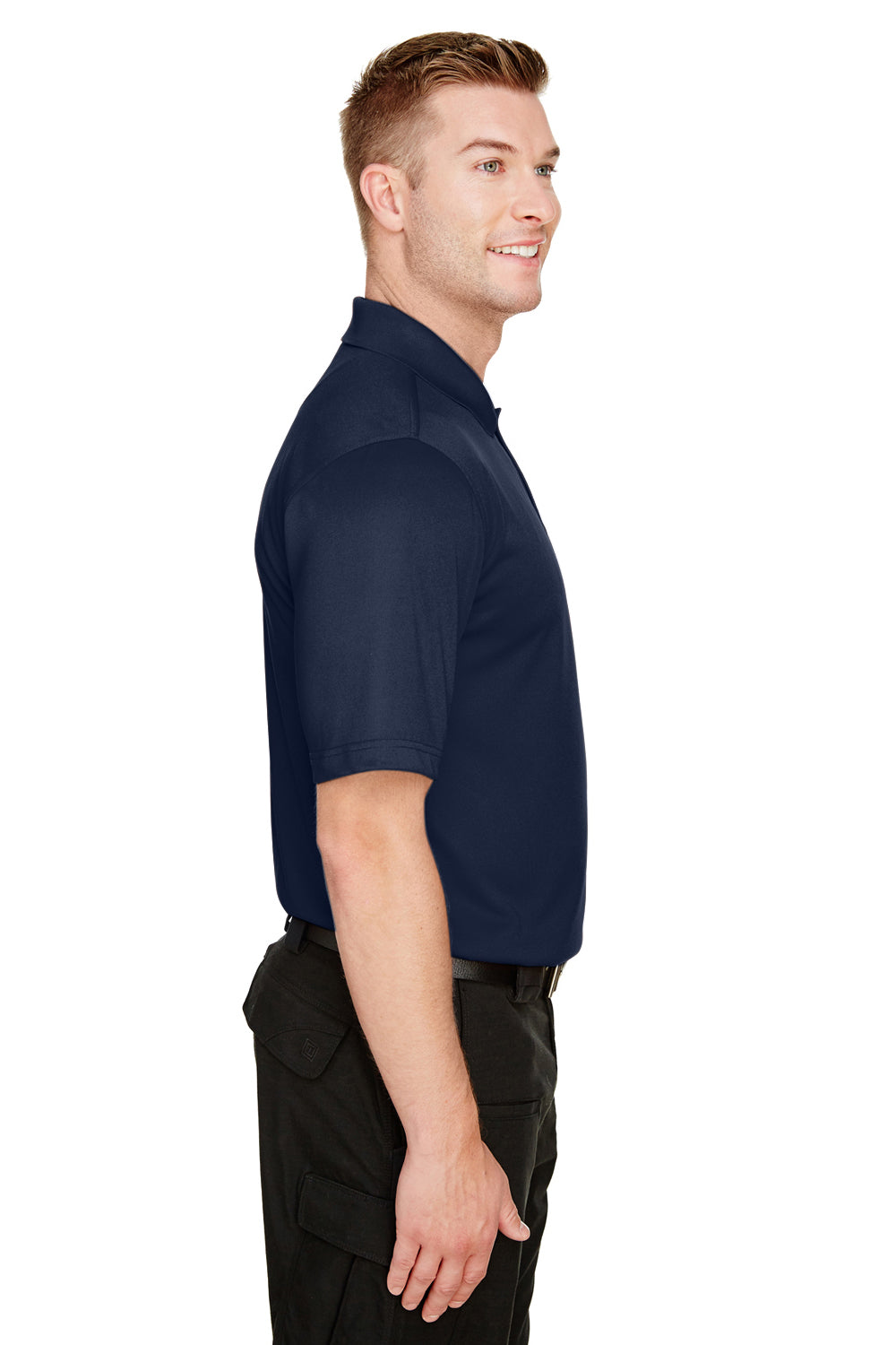 Harriton M348 Mens Advantage Performance Moisture Wicking Short Sleeve Polo Shirt Navy Blue Side