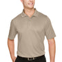 Harriton Mens Advantage Performance Moisture Wicking Short Sleeve Polo Shirt - Khaki