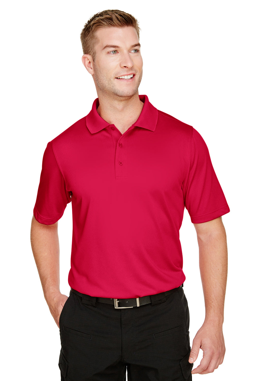 Harriton M348 Mens Advantage Performance Moisture Wicking Short Sleeve Polo Shirt Red Front