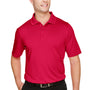 Harriton Mens Advantage Performance Moisture Wicking Short Sleeve Polo Shirt - Red