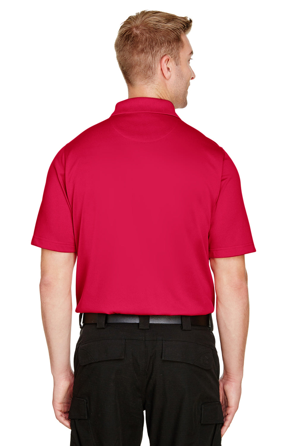 Harriton M348 Mens Advantage Performance Moisture Wicking Short Sleeve Polo Shirt Red Back