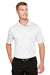 Harriton M348 Mens Advantage Performance Moisture Wicking Short Sleeve Polo Shirt White Front