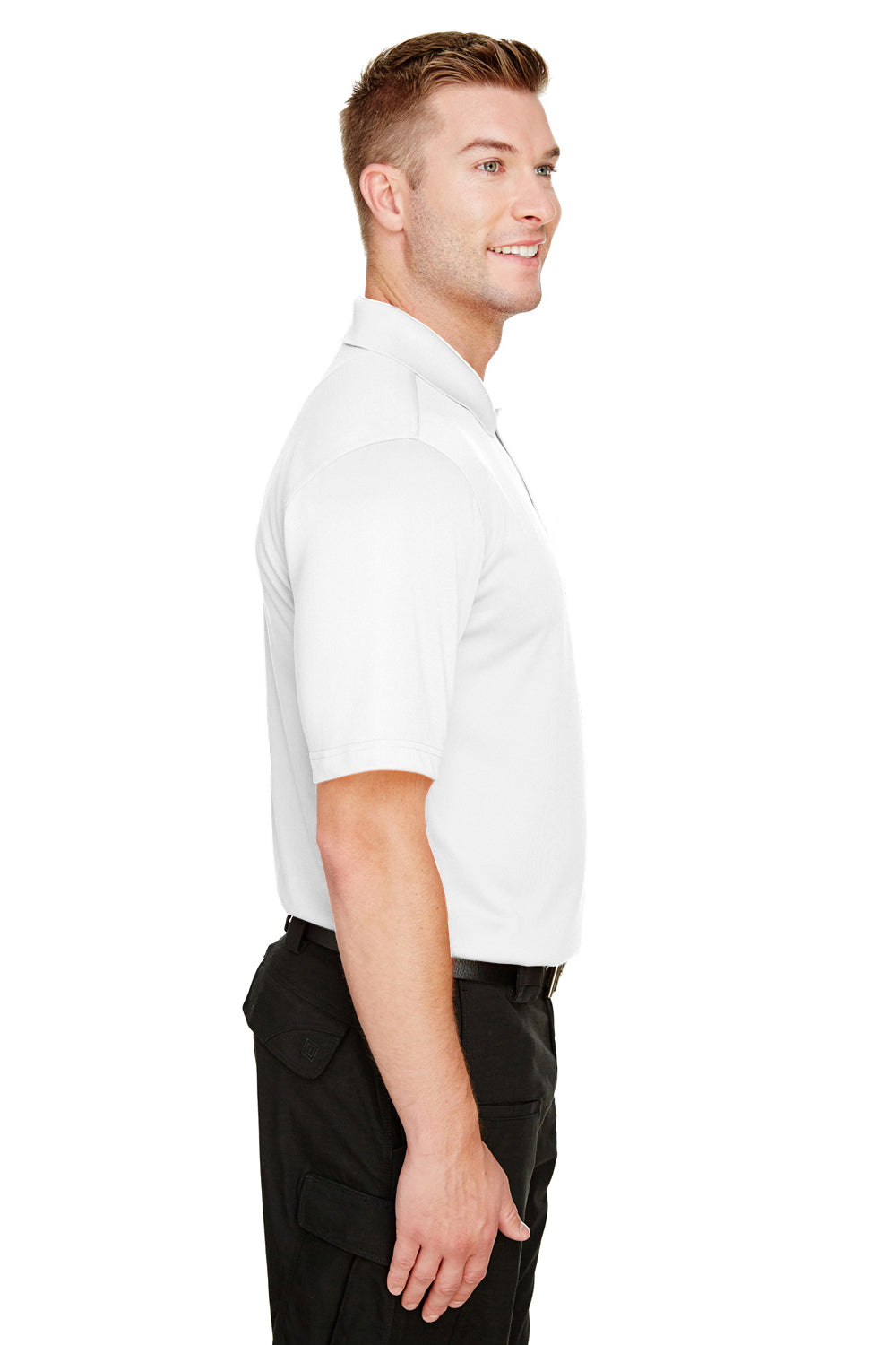 Harriton M348 Mens Advantage Performance Moisture Wicking Short Sleeve Polo Shirt White Side