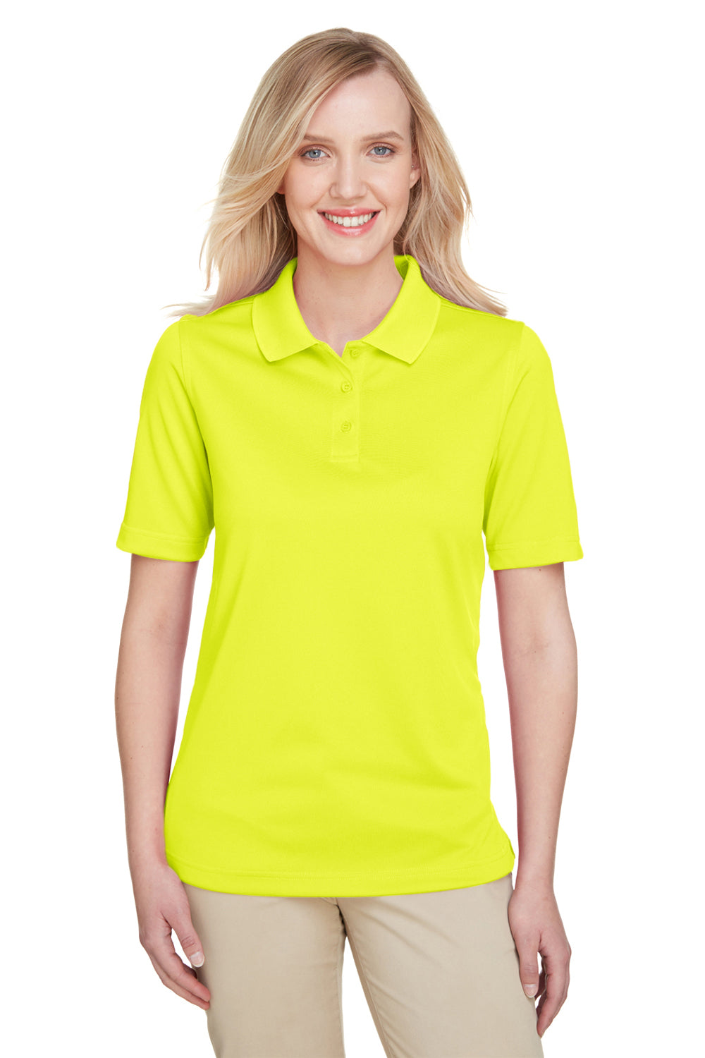 Harriton M348W Womens Advantage Performance Moisture Wicking Short Sleeve Polo Shirt Safety Yellow Front