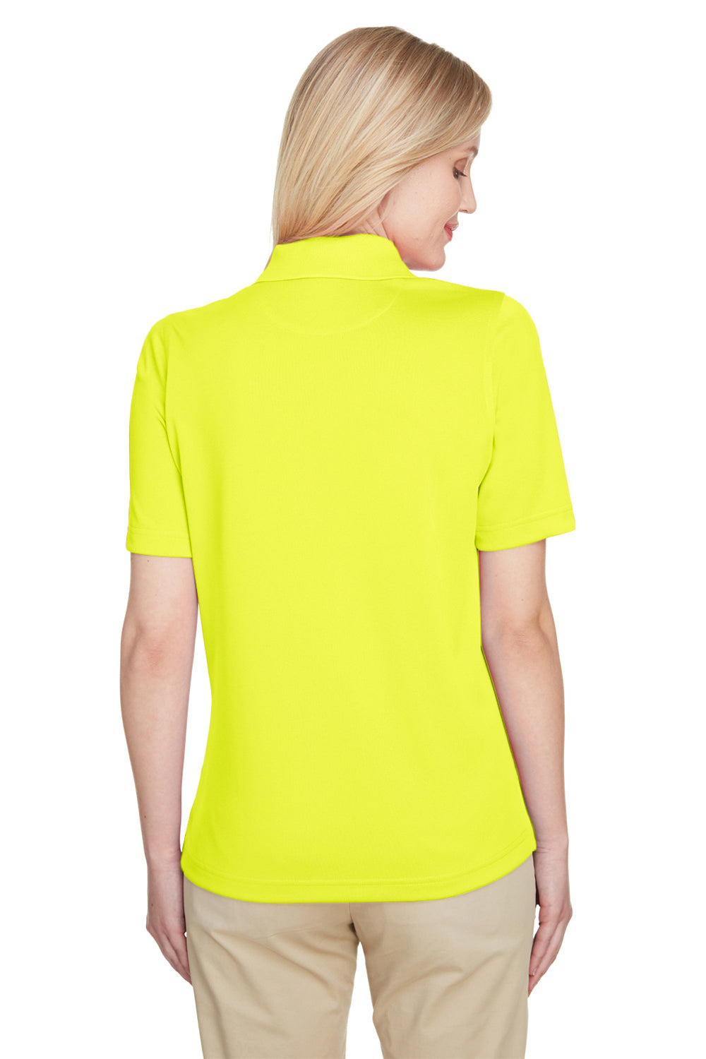 Harriton M348W Womens Advantage Performance Moisture Wicking Short Sleeve Polo Shirt Safety Yellow Back