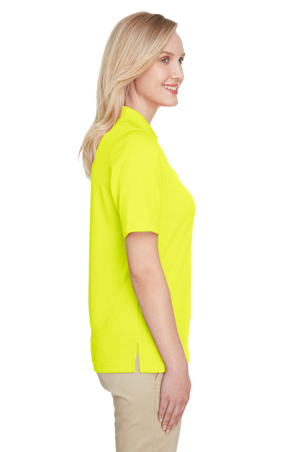 Harriton M348W Womens Advantage Performance Moisture Wicking Short Sleeve Polo Shirt Safety Yellow Side