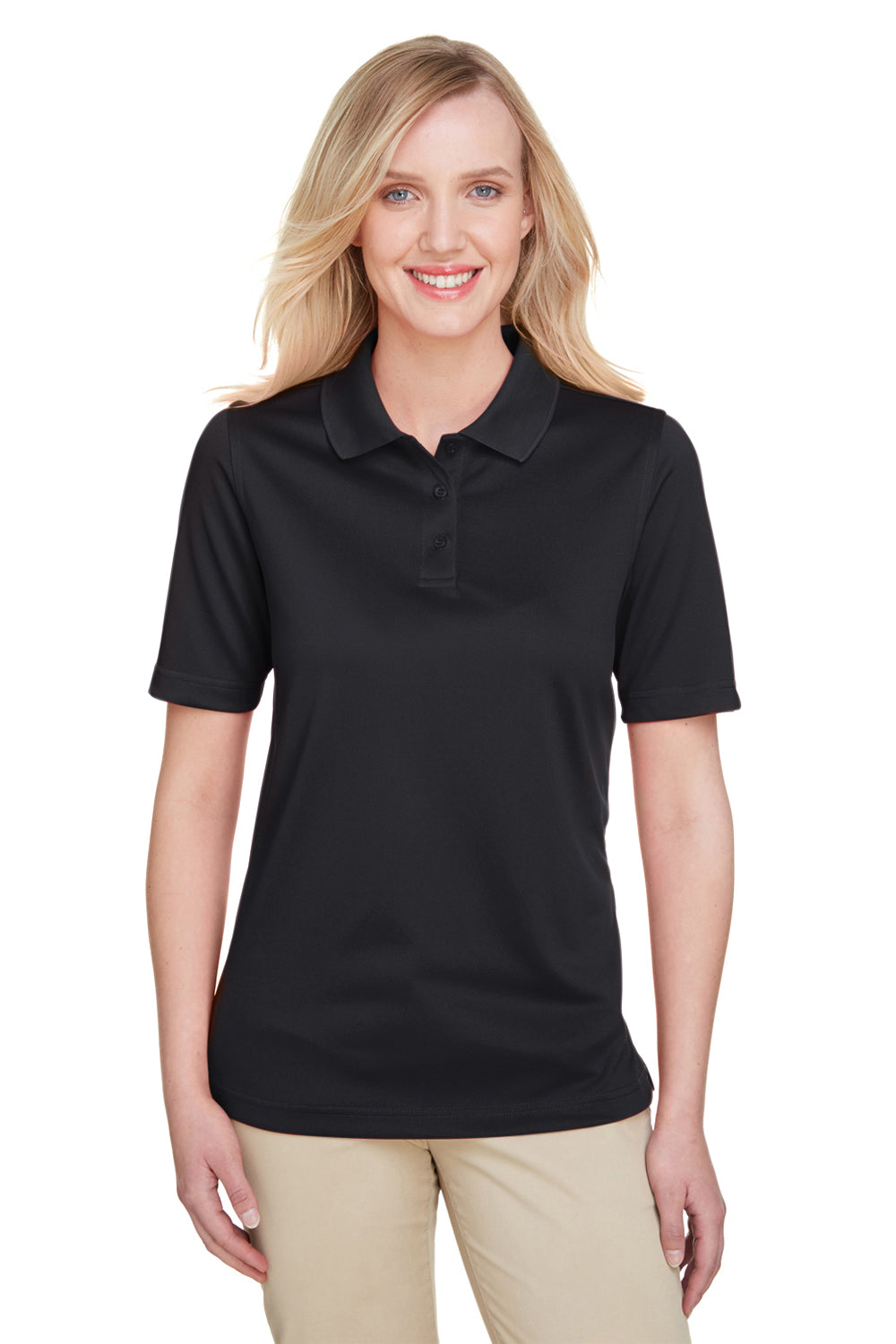 Harriton M348W Womens Advantage Performance Moisture Wicking Short Sleeve Polo Shirt Black Front