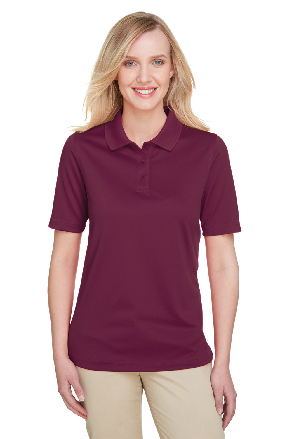 Harriton M348W Womens Advantage Performance Moisture Wicking Short Sleeve Polo Shirt Maroon Front