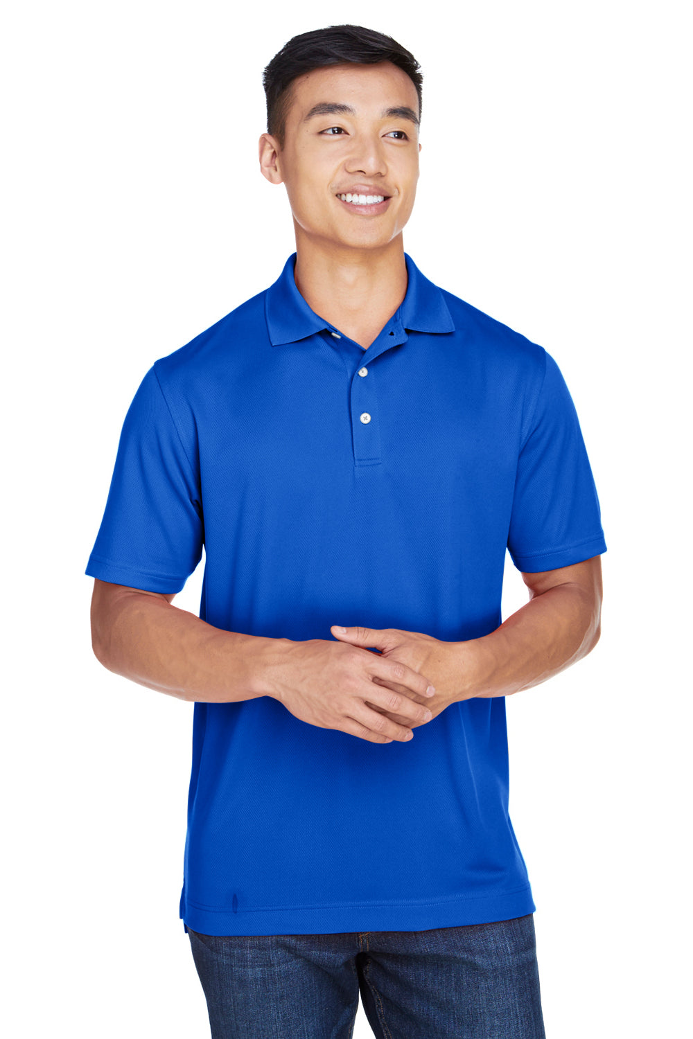 Harriton M353 Mens Double Mesh Moisture Wicking Short Sleeve Polo Shirt Royal Blue Front