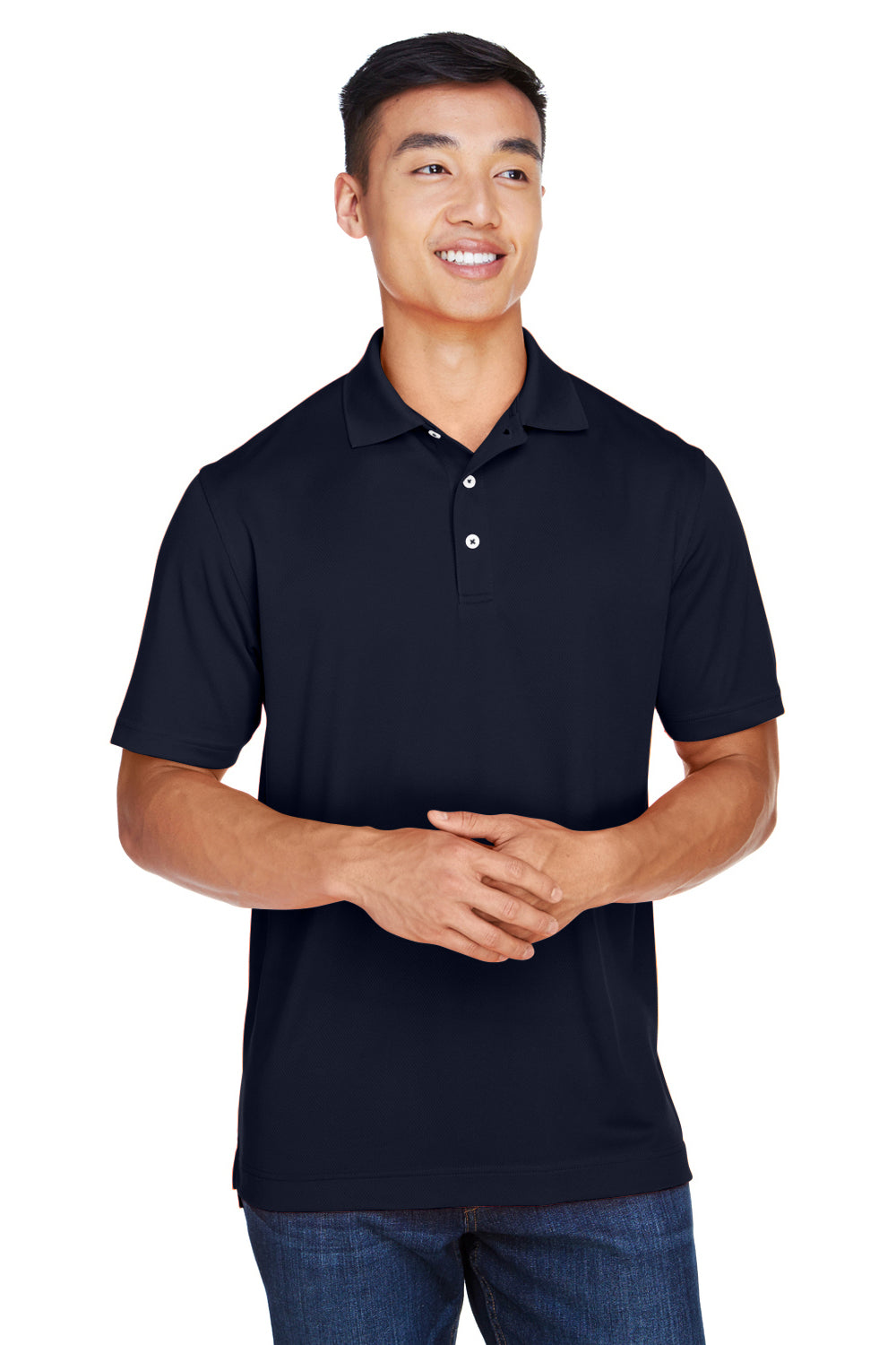 Harriton M353 Mens Double Mesh Moisture Wicking Short Sleeve Polo Shirt Navy Blue Front
