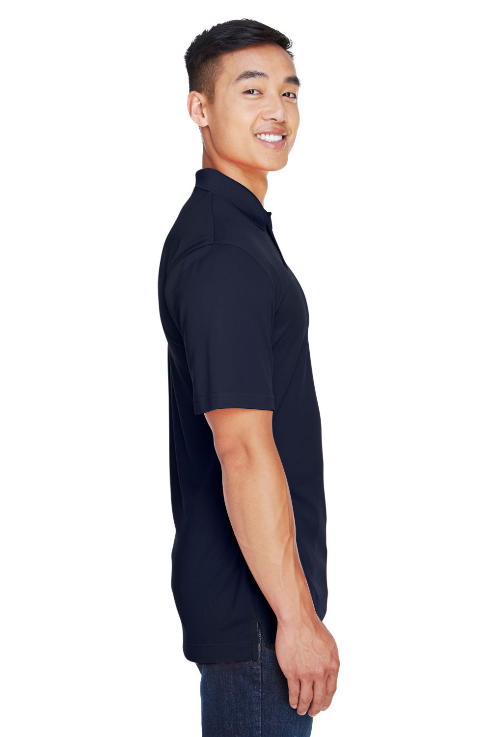 Harriton M353 Mens Double Mesh Moisture Wicking Short Sleeve Polo Shirt Navy Blue Side