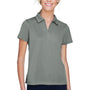 Harriton Womens Double Mesh Moisture Wicking Short Sleeve Polo Shirt - Charcoal Grey