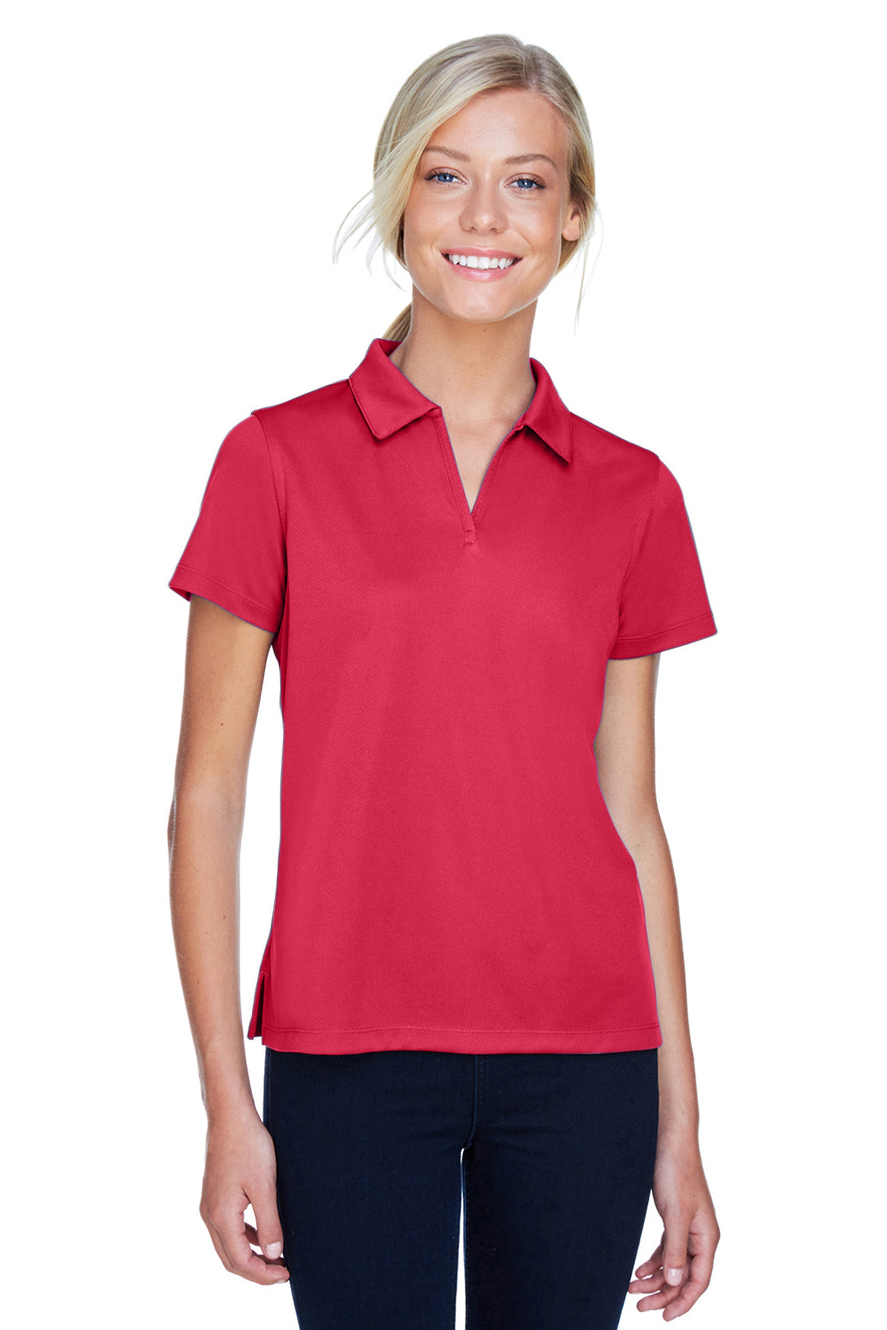 Harriton M353W Womens Double Mesh Moisture Wicking Short Sleeve Polo Shirt Red Front