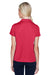 Harriton M353W Womens Double Mesh Moisture Wicking Short Sleeve Polo Shirt Red Back